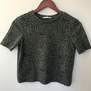 Zara Olive Green Print Crop Top
